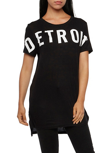 Tunic Top with Detroit Graphic,BLACK/WHITE,large
