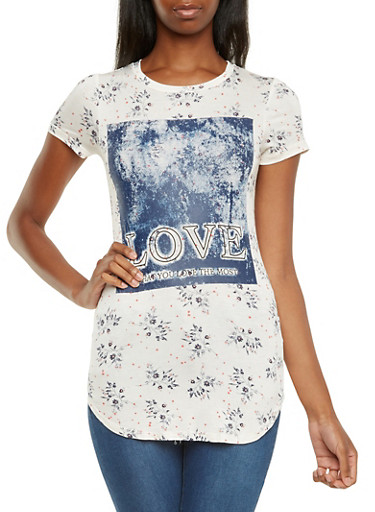 Floral Tunic Top with Love What You Love The Most Graphic,IVY GROUND,large
