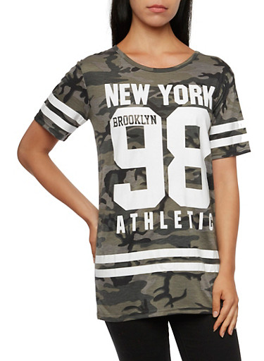 Camo Print Top with New York 98 Graphic,OLIVE/GREY,large