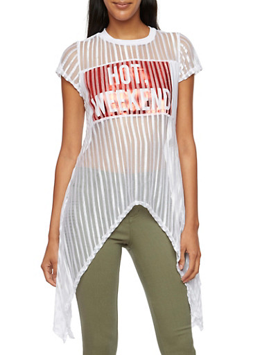 Shadow Stripe Top with Hot Weekend Graphic,WHITE,large