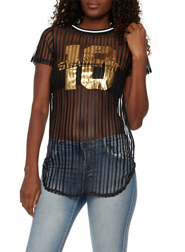 Striped Mesh Tunic Top with Slayin It Graphic,BLACK,large