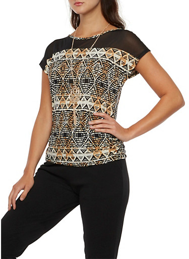 Printed Top with Mesh Yoke and Necklace,IVY/BLK/CARAMEL,large
