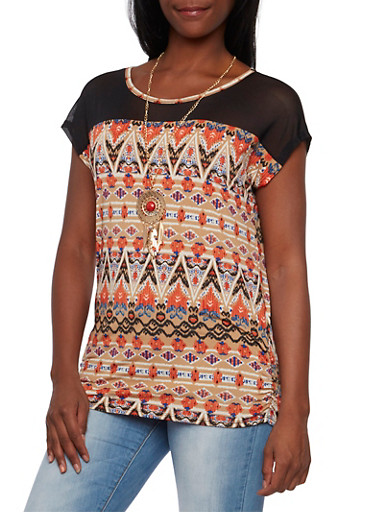 Sheer Paneled Top with Removable Necklace,CORAL/TEAL/MUSTARD,large