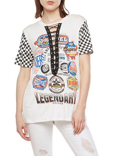 Racing Graphic Lace Up Top,BLACK/WHITE,large