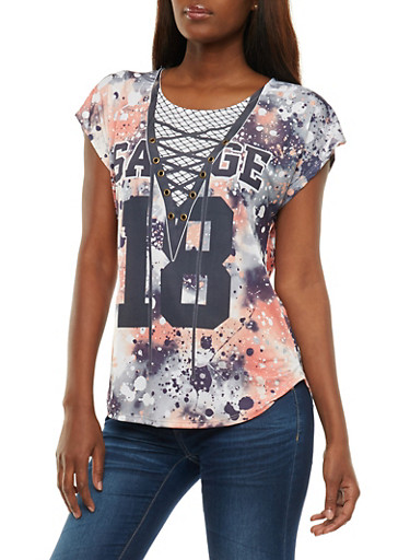 Splatter Graphic Print T Shirt with Grommet Detail,WHITE,large