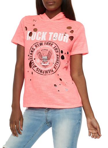 Rock Tour Hooded T Shirt,NEON PINK,large