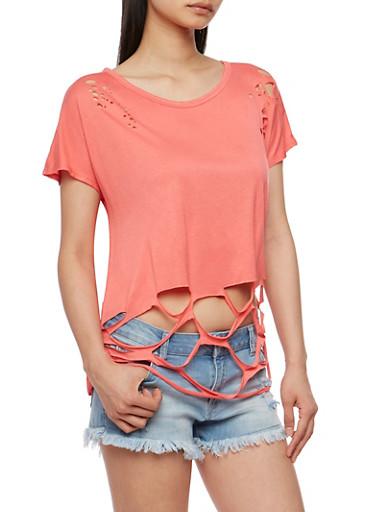 Short Sleeve Lasercut T Shirt,BLUSH,large