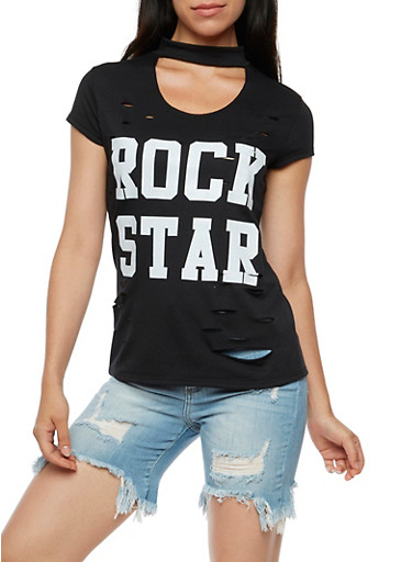 Rock Star Keyhole Graphic Top,BLACK,large
