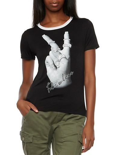 Ringer Tee with Flawless Rhinestone Peace Sign Print,BLACK,large