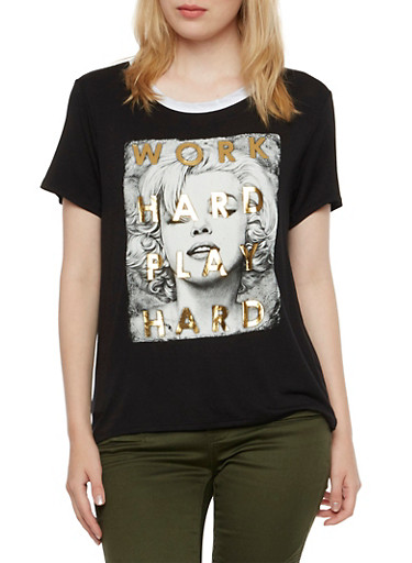 Graphic Ringer Tee with Work Hard Play Hard Marilyn Print,BLACK,large