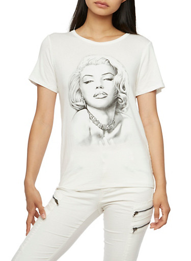 T-Shirt with Studded Marilyn Monroe Graphic,IVORY,large