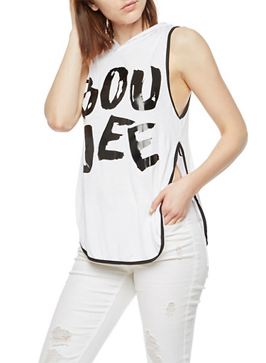 Boujee Hooded Sleeveless Graphic Top,WHITE,large