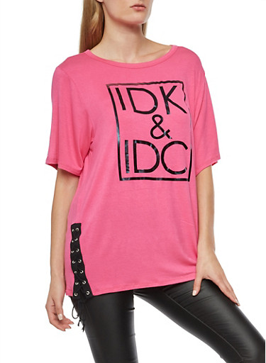 IDK IDC Graphic Lace Up Top,FUCHSIA/WHT,large