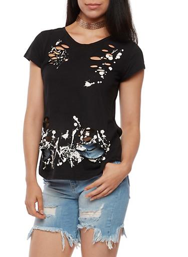 Paint Splatter Laser Cut T Shirt,BLACK/NEON PINK,large