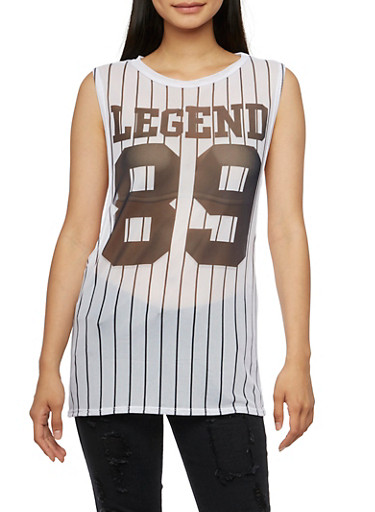 Mesh Muscle Top with Legend 89 Print,WHITE/NAVY,large