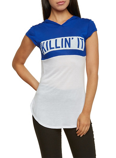 Killin It Hooded Tunic Tee,RYL/WHT,large
