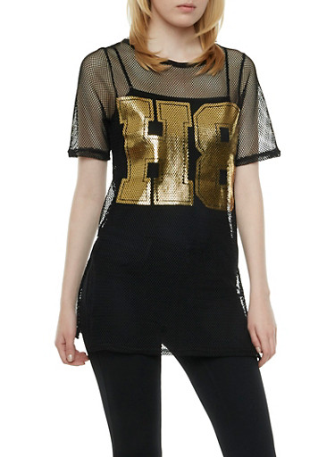 Graphic Short Sleeve Mesh Tunic Top with H8 Foil Print,BLACK/GOLD,large