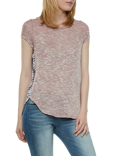 Almost Famous Knit Short Sleeve High-Low Top with Paid Print Back,BERRY-1989,large
