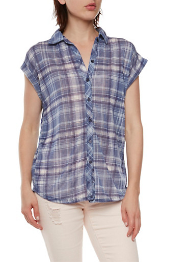 Almost Famous Plaid Shirt with Flyaway Lace Back,NAVY COMBO,large