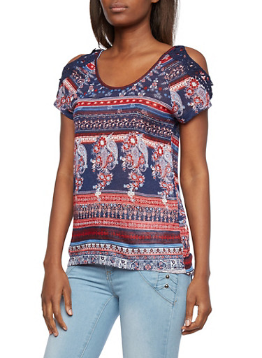 Almost Famous Top with Cold Shoulders and Crochet Accents,RED/NAVY,large