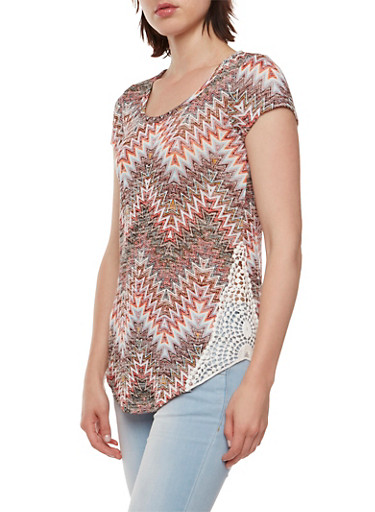 Almost Famous Knit Top with Crochet Side Paneling,BROWN MULTI,large