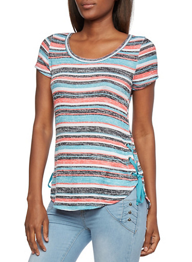 Almost Famous Knit Striped Top with Lace-Up Sides,TURQ/CORAL,large