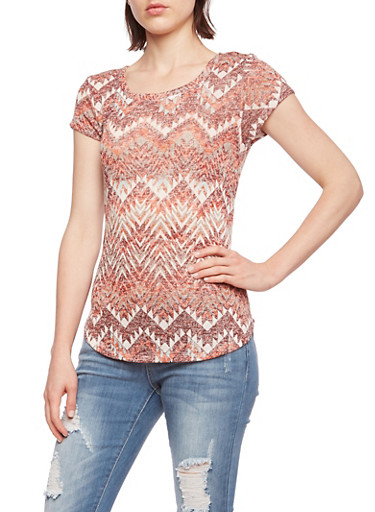 Almost Famous Knit Split Back Top with Crochet Trim,RUST/WINE,large