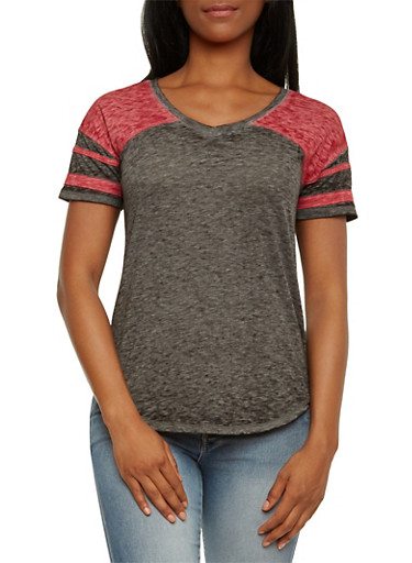 Almost Famous Burnout T-Shirt with Color Blocked Paneling,BLACK/WINE,large