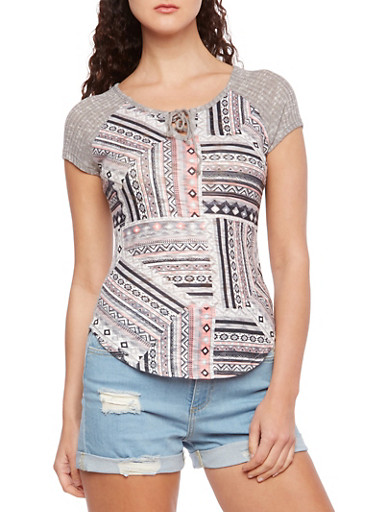Almost Famous Rib-Knit Lace-Up Top with Mixed Aztec Print,GRAY,large