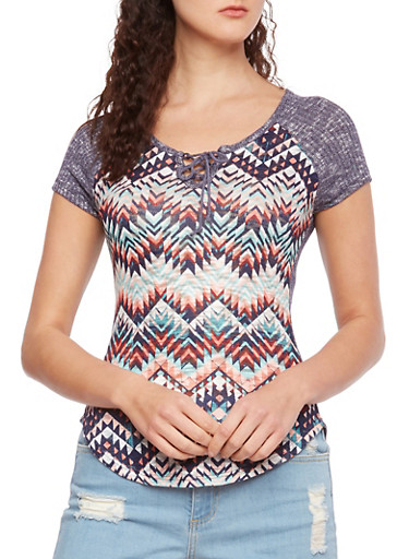 Almost Famous Printed Knit Top with Lace-Up Neckline,NAVY,large