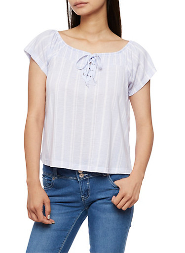 Short Sleeve Striped Lace Up Top,LT BLUE/WHT,large
