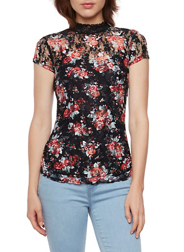 Almost Famous Lace Top in Floral Print,BLACK MULTI,large