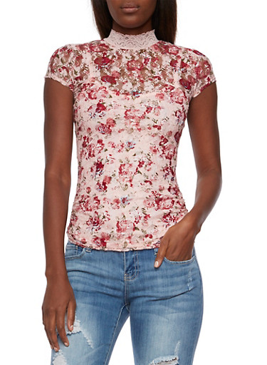 Almost Famous Lace Top with Ruched Sides,BLUSH MULTI,large