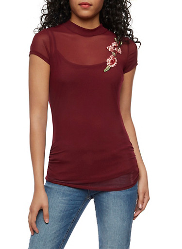 Mesh Top with Floral Applique,CABERNET,large
