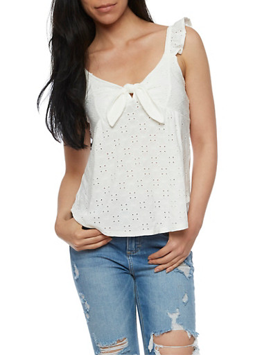 Eyelet Tie Front Top with Ruffle Straps,WHITE,large