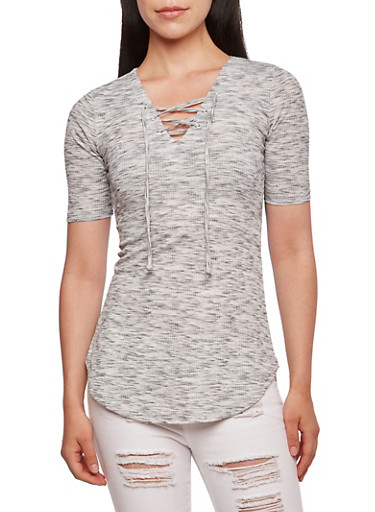 Almost Famous Ribbed Space-Dye Top with Deep V Lace-Up Neckline,GRAY,large