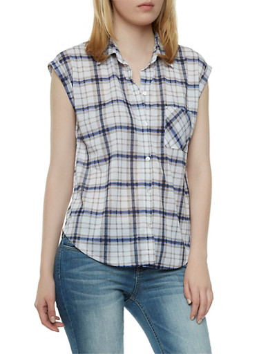Almost Famous Plaid Top with One Bust Pocket,WHT-BLK,large