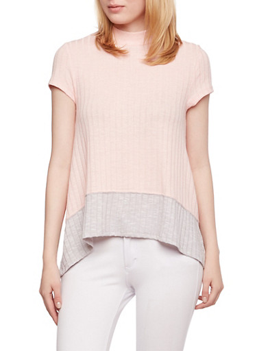 Almost Famous Color Block Top with Mock Neck,BLUSH/GREY,large