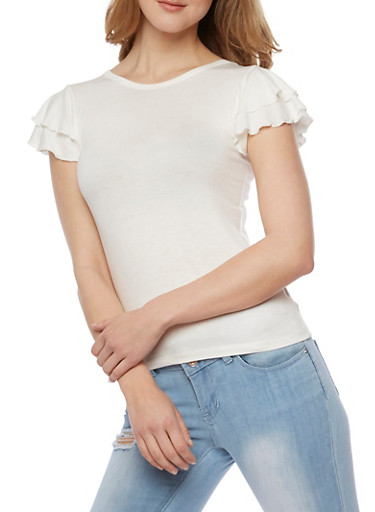 Double Ruffle Short Sleeve Top,IVORY,large