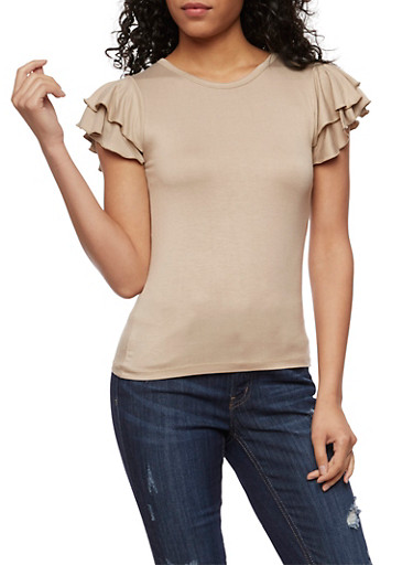 Double Ruffle Short Sleeve Top,TAUPE,large