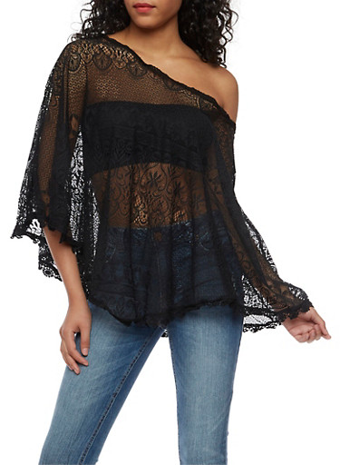Lace Poncho with Crochet Trim,BLACK,large