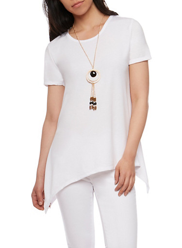 Circle Top with Necklace,WHITE,large