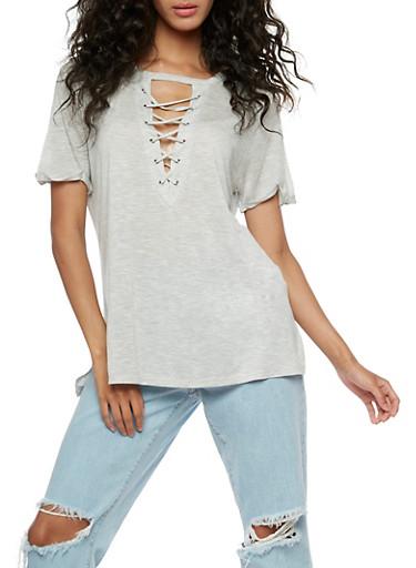 Short Sleeve Lace Up Keyhole Top,HEATHER,large