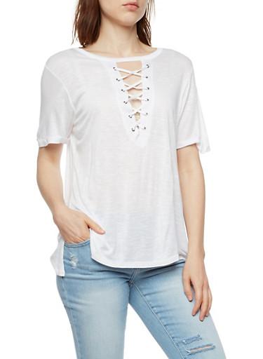 Short Sleeve Lace Up Keyhole Top,WHITE,large