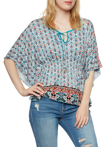 Tassel Tie Boho Top with Flutter Sleeves and Paisley Print,IVORY,large