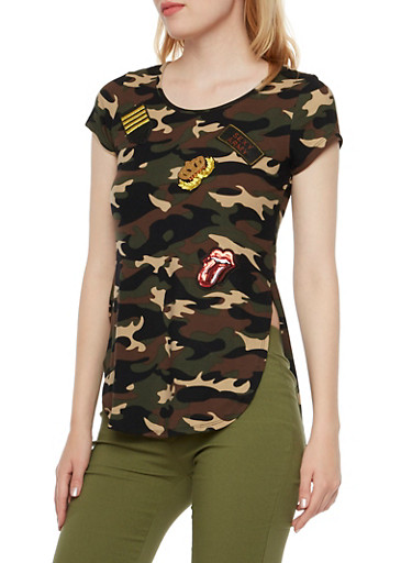Camo Top with Cheeky Patches,OLIVE,large
