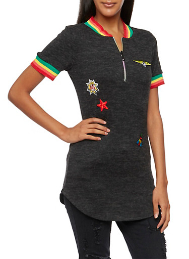 Knit Tunic Top with Patches,BLACK/RED/GREEN,large