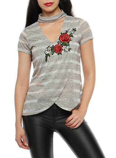Striped Wrap Front Top with Floral Applique,CHARCOAL,large