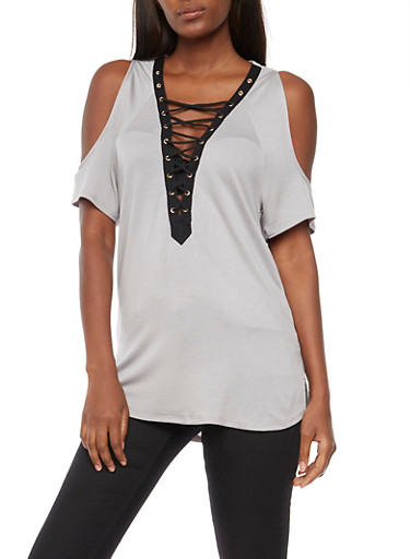 Lace Up Cold Shoulder Top,HEATHER,large