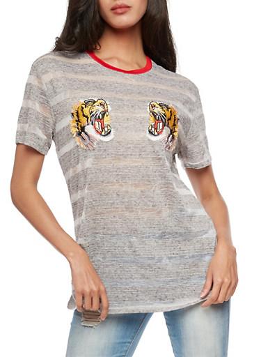 Tiger Applique Burnout T Shirt,CHARCOAL,large